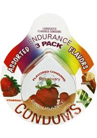 Asst Flavors Endurance Condom 3pk