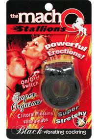 Macho Stallions Vibrating Cockring Black