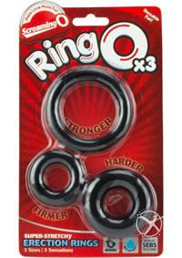 Ringo X3 Cockrings Black 6/disp