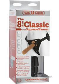 Vac U Loc Classic 8 Cock W/harness Brow
