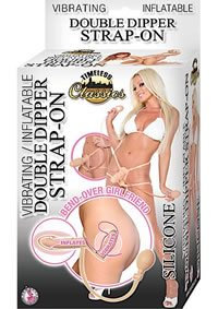 Inflate Dbl Dipper Strap On Vibe Flesh