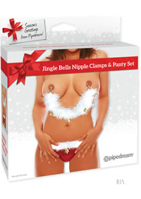 Jingle Bells Nipple Clamps and Panty Set
