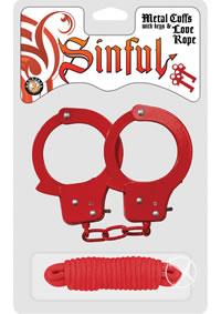 Sinful Metal Cuffs W/keys Love Rope Red