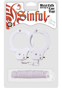 Sinful Metal Cuffs W/keys Love Rope Whit