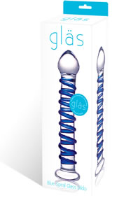 Blue Spiral Glass Dildo