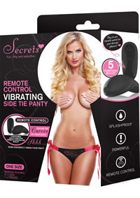 Secrets Remote Side Tie Panty Blk/pnk