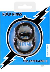 Rock Rings Cocktagon Ii 2pk Blk (disc)