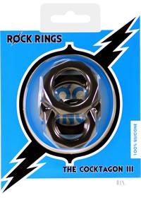 Rock Rings  cocktagon Lll 3pk Blk (disc)