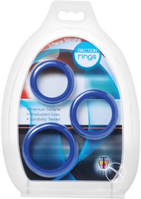 3 Piece Silicone Erection Rings Blue