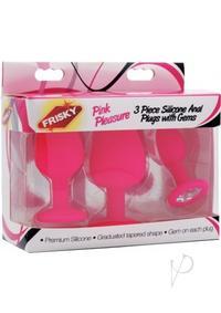 Frisky Pink Pleasure Silic Plug Gems 3pc