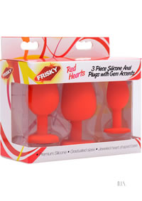 Silicone Heart Butt Plug Set Of 3 Red