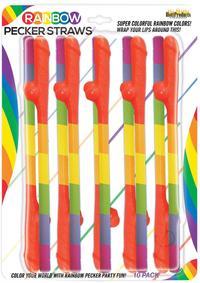 Rainbow Pecker Straws 10pk