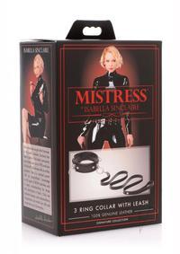 Mis 3 Ring Leather Collar W Leash