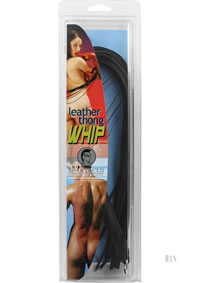 20 Thong Whip - Black Leather