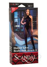 Scandal Halter Lace Body Plus Sz Black