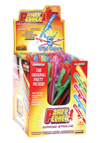 Party Pecker Straws Neon 144/display