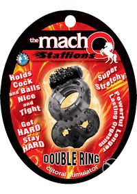 Macho Stallions Dbl Ring Black