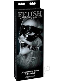 Ffle Masquerade Mask and Ball Gag Black