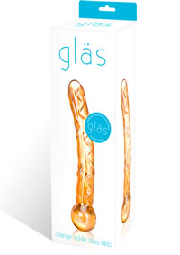 Orange Tickler Glass Dildo