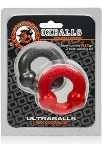 Ultraballs 2pk Cockring Steel/red