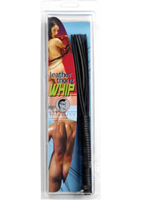 10 Thong Whip - Black Leather