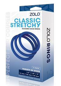 Zolo Stretchy Cock Ring 3pk Navy